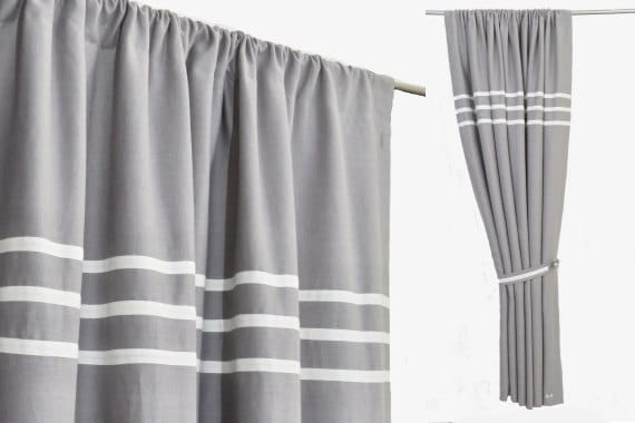 Grey White Linen Curtains, Minimalist Gray Bedroom Curtains, Rod Pocket  Grey Linen Drapes, Grey White Striped Rod Pocket Custom Made Curtain
