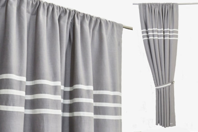 Grey White Linen Curtain Panel, Minimalist Gray Bedroom Curtains, Rod  Pocket Grey Linen Drapes, Grey White Color Block Rod Pocket Curtain.