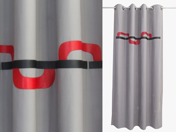 Grey Red Black Curtains. Modern Grey Curtain Panels. Masculine Bedroom  Curtains. Mid Century Drapes. Custom Sizes Leather Colours. Lined.