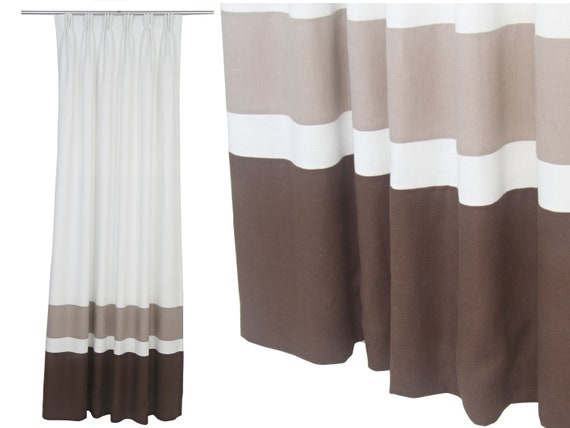 Chocolate Brown Cappuccino White Linen Curtain Panel, Blackout Custom  Living Room Drape, Masculine Curtain, Color Block Modern Curtain.