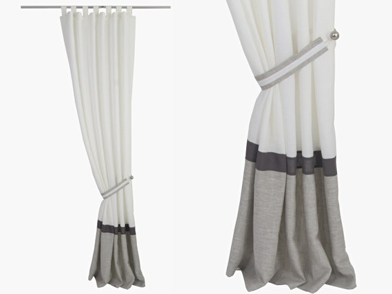 White Graphite Grey Beige Linen Curtains, Bedroom Drapery, Modern Linen  Drapes, Three Tone, Stripe, Lined Curtains linen. Sold per panel.