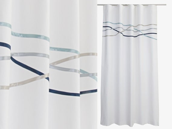 Ocean Theme White Curtains White Bedroom Curtain Panels | Etsy