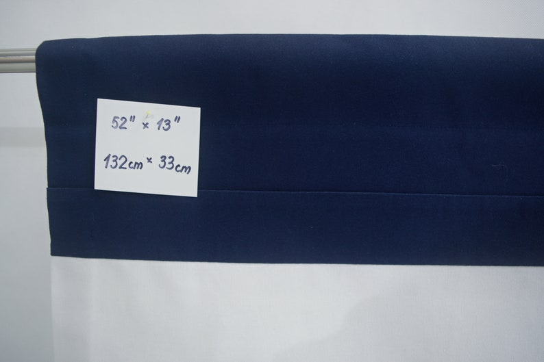 Beach House Custom Made to Order. Nautical Navy Blue White Teal Rod Pocket Modern Valance Contemporary Minimalist Dark Blue White Sea