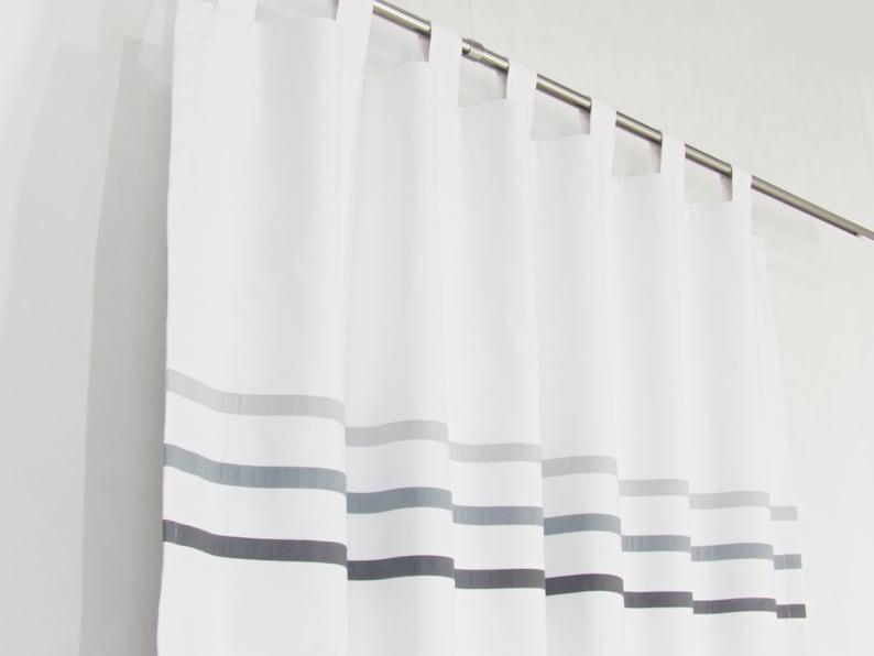 White Gray Minimalist Curtains, Modern Bedroom Curtain Panel Light Dark  Grey Stripes, Custom Made White Drapes, Scandinavian White Curtain
