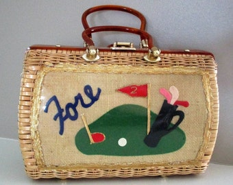 VTG CLEAN Lady Golfer Wicker Tortoise Lucite Princess Charming by Atlas Golf Motif Purse Hollywood Florida Summer Memorial Day 4th of July