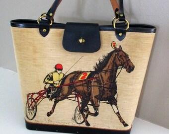 RARE Vintage Enid Collins of Texas Canvas Bucket Horse Purse Equestrian Chic Handbag Summer Polo Match Ralph Lauren Style Cowgirl Chic