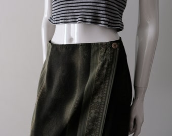 Vintage 1990s Khaki/Olive Green || FAIRWEATHER || Wrap Skirt. | Made in Canada. ||