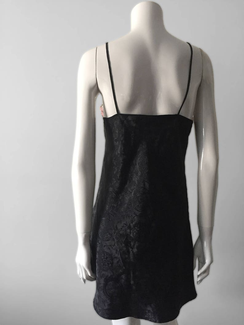 Intimate Apparel Vintage Black Nightgown with multicoloured Lace Trim DECADENCE Lingerie