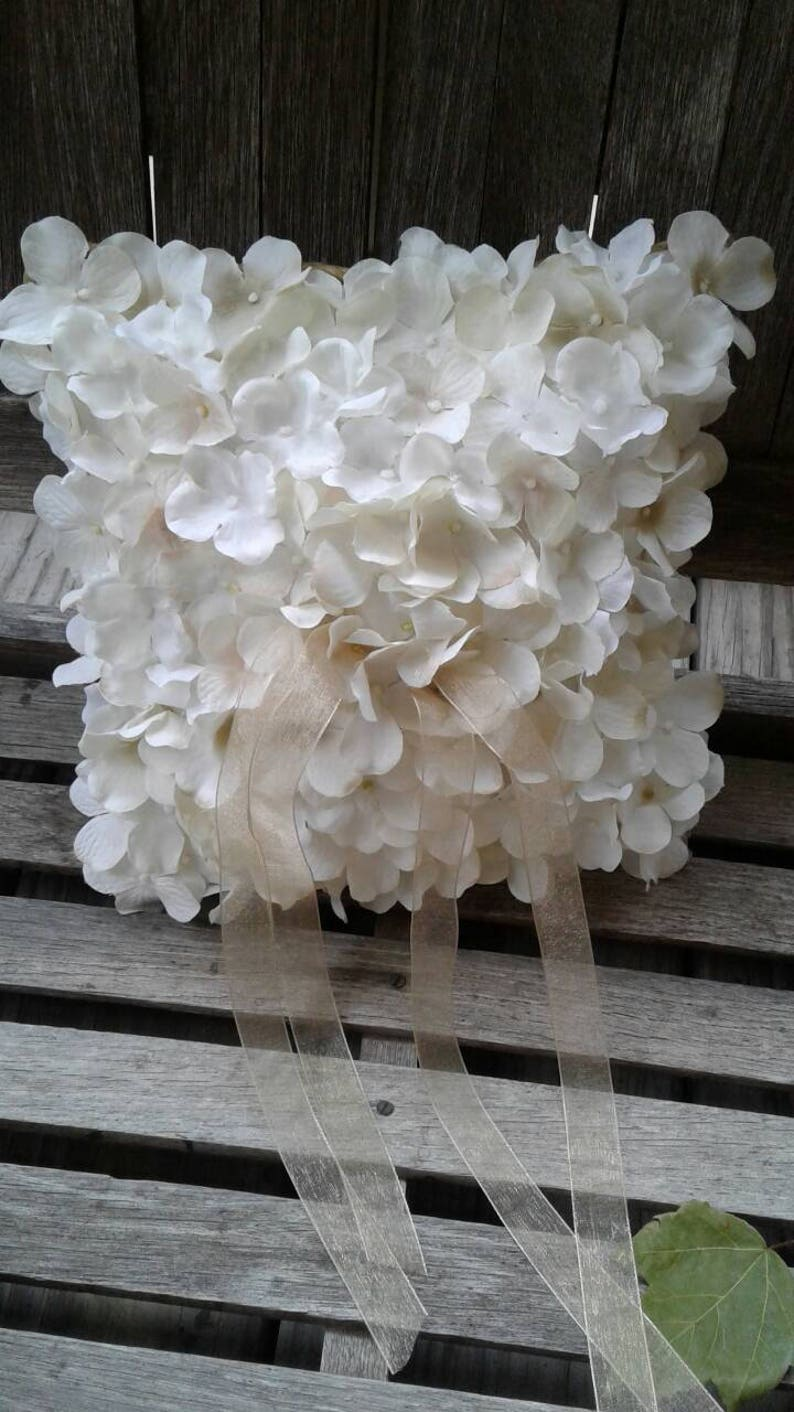 Ivory Hydrangea Covered Ring Bearer Pillow Wedding Ring image 0