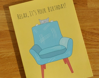 Birthday Card - Pet Cat card - Designed and Printed in the UK