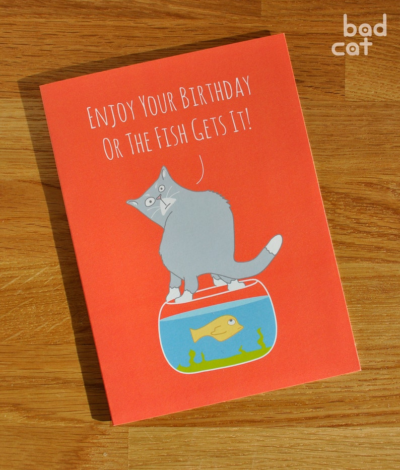 Animal Cat Card Designed And Printed In The UK Themed