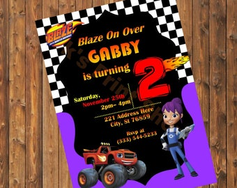 Purple Blaze and The Monster Machines Invitation
