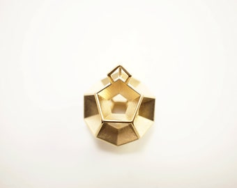 "A Polished Brass 3D Printed ""Dodeca"" Pendant - Dodecahedron - Platonic Solids [GO-7]"