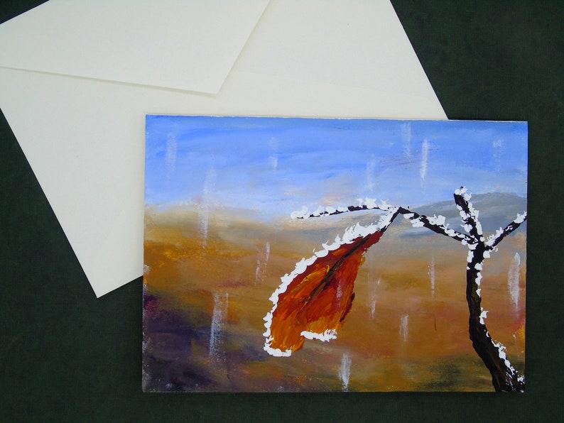 Original Acrylic 5x7 Painting Hand Painted Christmas Card Birthday Handpainted Blank Greeting Card Winter Greeting Card Thank-you Card