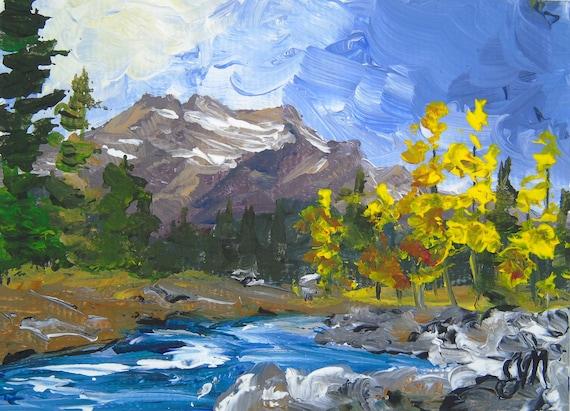 Mountain Painting Miniature Landscape Creek Tiny Painting Original ACEO Landscape Oil Painting Original Art Alberta Mountainscape