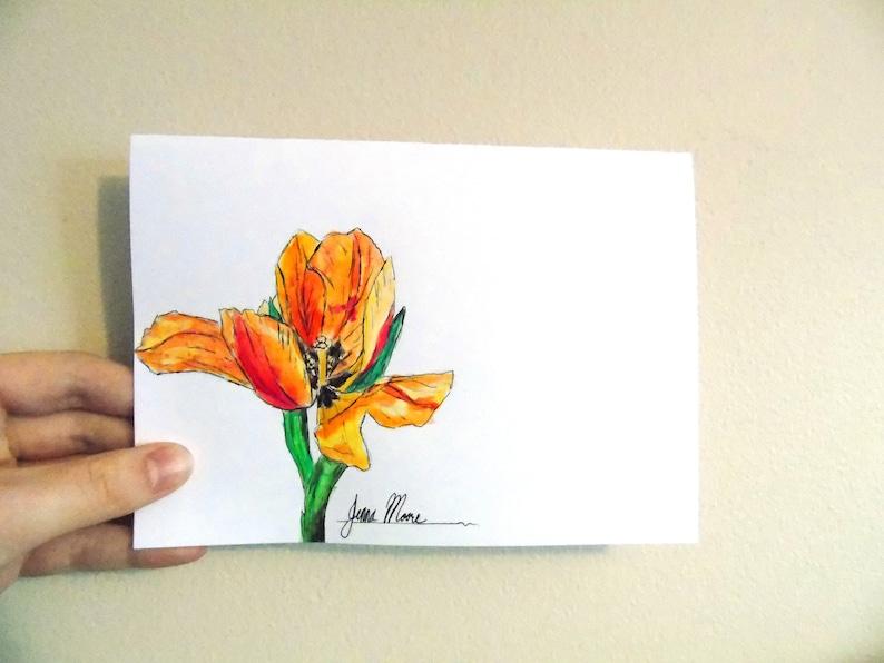 Blank Card Get Well Soon Card Birthday Card Floral Card Thank-you Card Original Ink 5x7 inch Tulip Handmade Flower Greeting Card