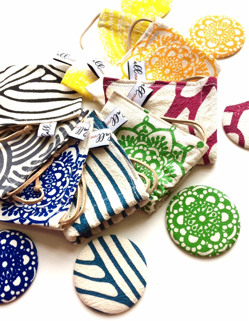 Drawstring Pouch /& Pocket Mirror Combo Handmade Drawstring Pouch Gift baggie Pocket Mirror Jewelry Pouch