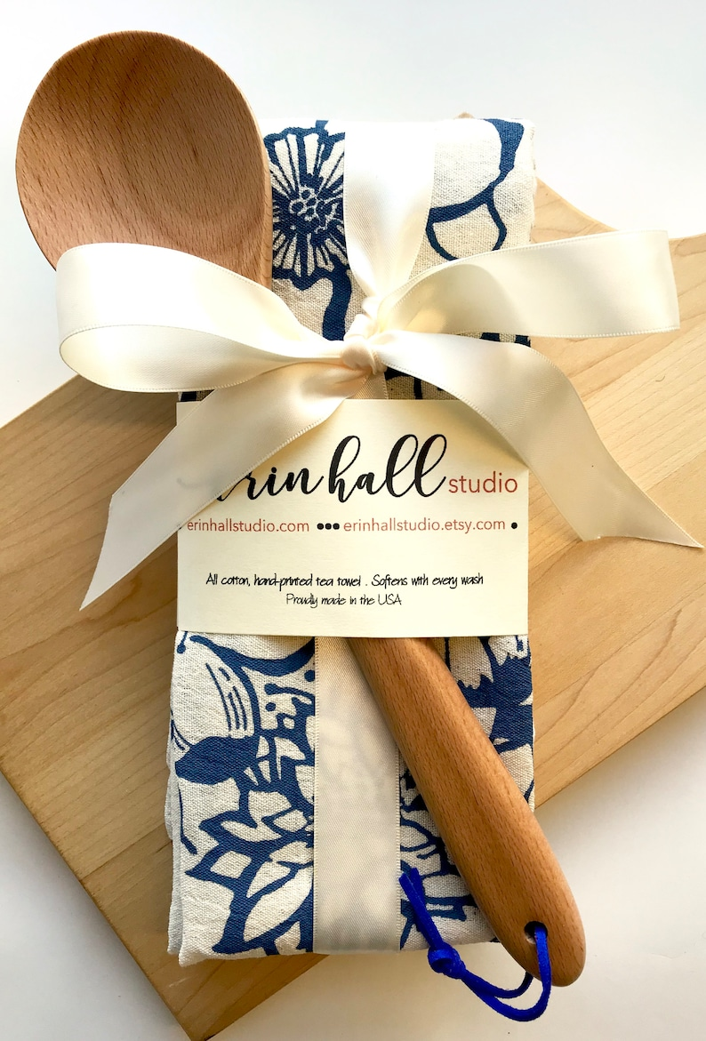 Gift Bundle 2 Hand Printed Tea Towels & Wooden Spoon with image 0