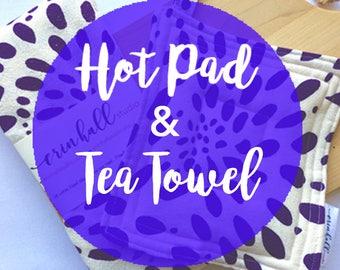 Hot Pad & Tea Towel Combo, Pot Holder, Kitchen, Heat proof, All Natural Cotton, Flour Sack Cotton,