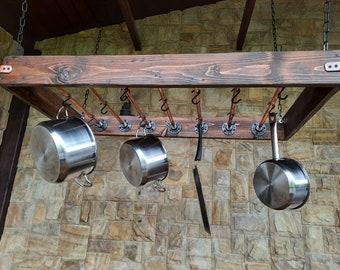 Hanging industrial pot rack