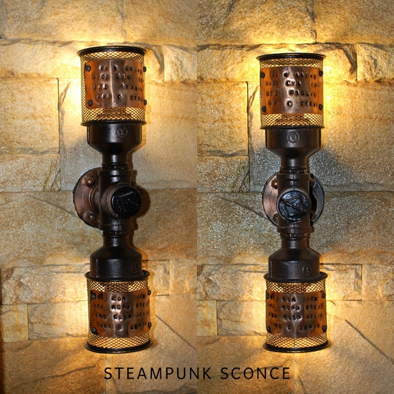 competitive price 0ec99 a9c76 Plug in wall sconce lamp Rustic industrial wall sconce Steampunk sconce  Pipe sconce Pipe wall decor Edison bulb sconce Farmhouse design