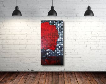 Rode grijze muur olie etsy