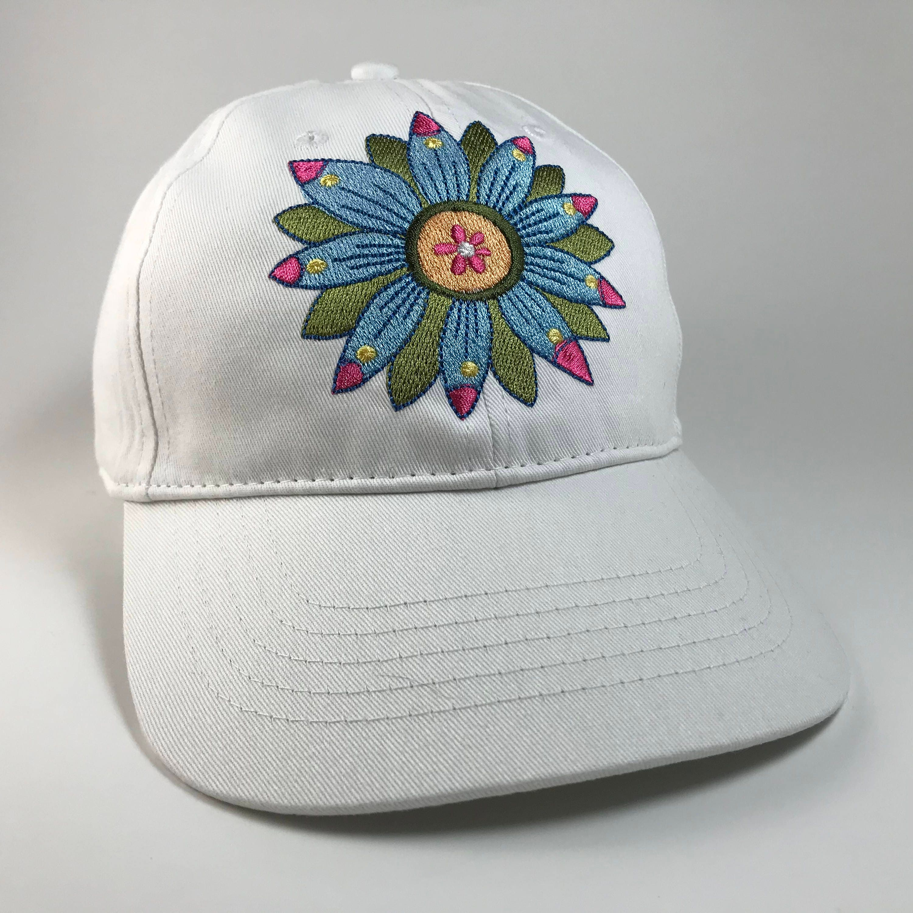 3952ed08730 Funky Flowers Embroidered Baseball Cap Women s Hat