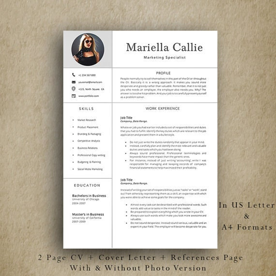 2 Page Professional Resume Template + Cover Letter | Professional CV  Template | 1,2,3,4 Page CV Template | Nurse Resume Template | Creative.