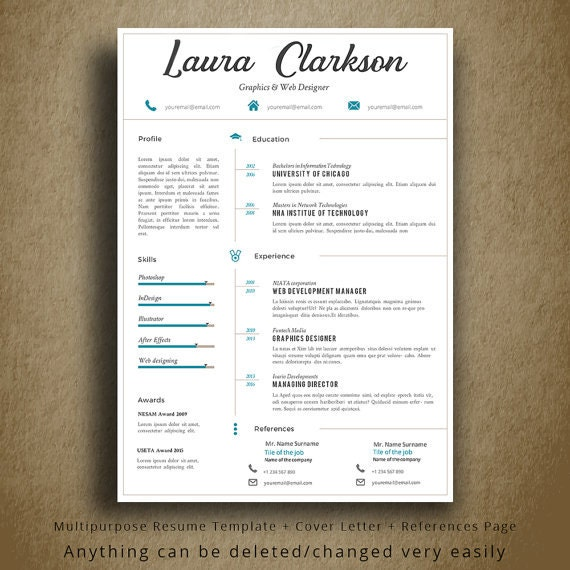 Multipurpose Professional Cv Template 2 Colors Cover Letter References Page 1 Page Cv Easy To Edit Professional Resume Template