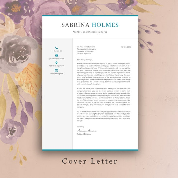 2 Page Professional Resume Template | Creative CV Template | Cover Letter.  2 Pages Professional CV. Nurse Template. Creative Resume.