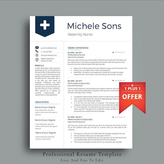 Professional Nurse Resume Template Multipurpose CV Template | Etsy