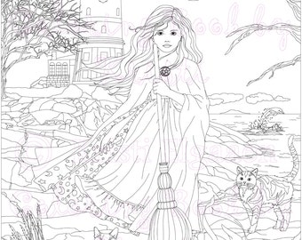 Adult Coloring Page, Fantasy Art, Coloring pages, Digital Download, Lighthouse, Gracellen by the sea, Coloring by Kristi