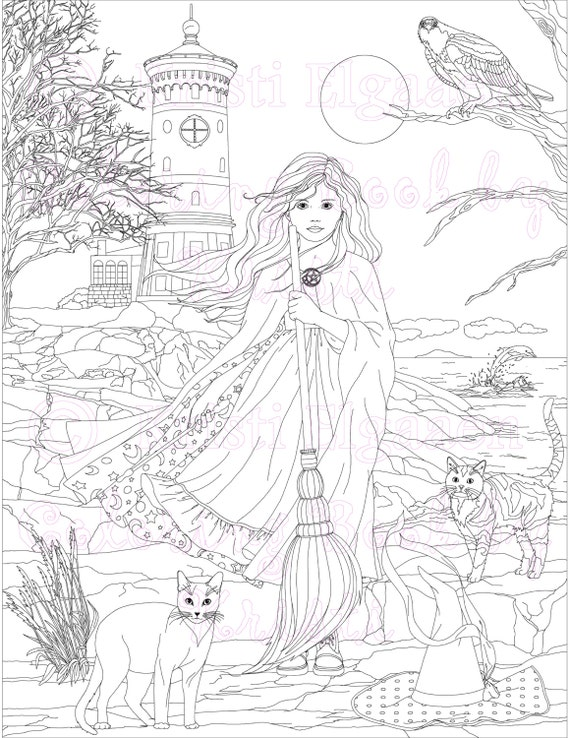 Little Witches And Wild Things Adult Coloring Page Fantasy Etsy
