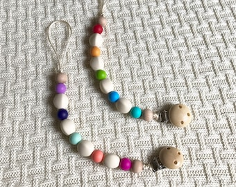 Silicone Pacifier clip, Silicone Teething Beads, Chew Beads colorful