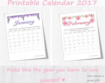 "Self-Love Calendar 2017 - Love Yourself, Instant Download Floral Printable Calendar, Mantras, Gift Idea for Her, Monthly Calendar, 8.5""X11"""