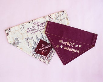 Mischief Managed | Marauder's Map | Harry Potter Dog Bandana | Over the Collar | Personalized Dog Bandana | Dog Gift | Cat Bandana | Custom