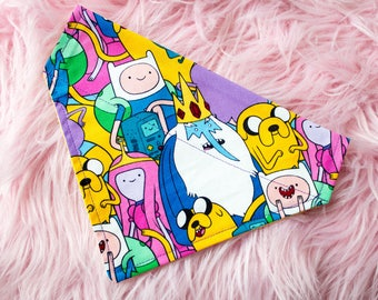 Adventure Time | Over the Collar Dog Bandana | Pet Bandana | Reversible | Finn & Jake | Ice King | Princess Bubblegum | BMO