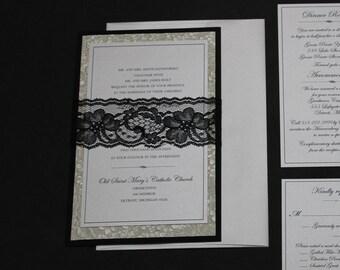 Elegant Romantic Black Lace Wedding Invitation
