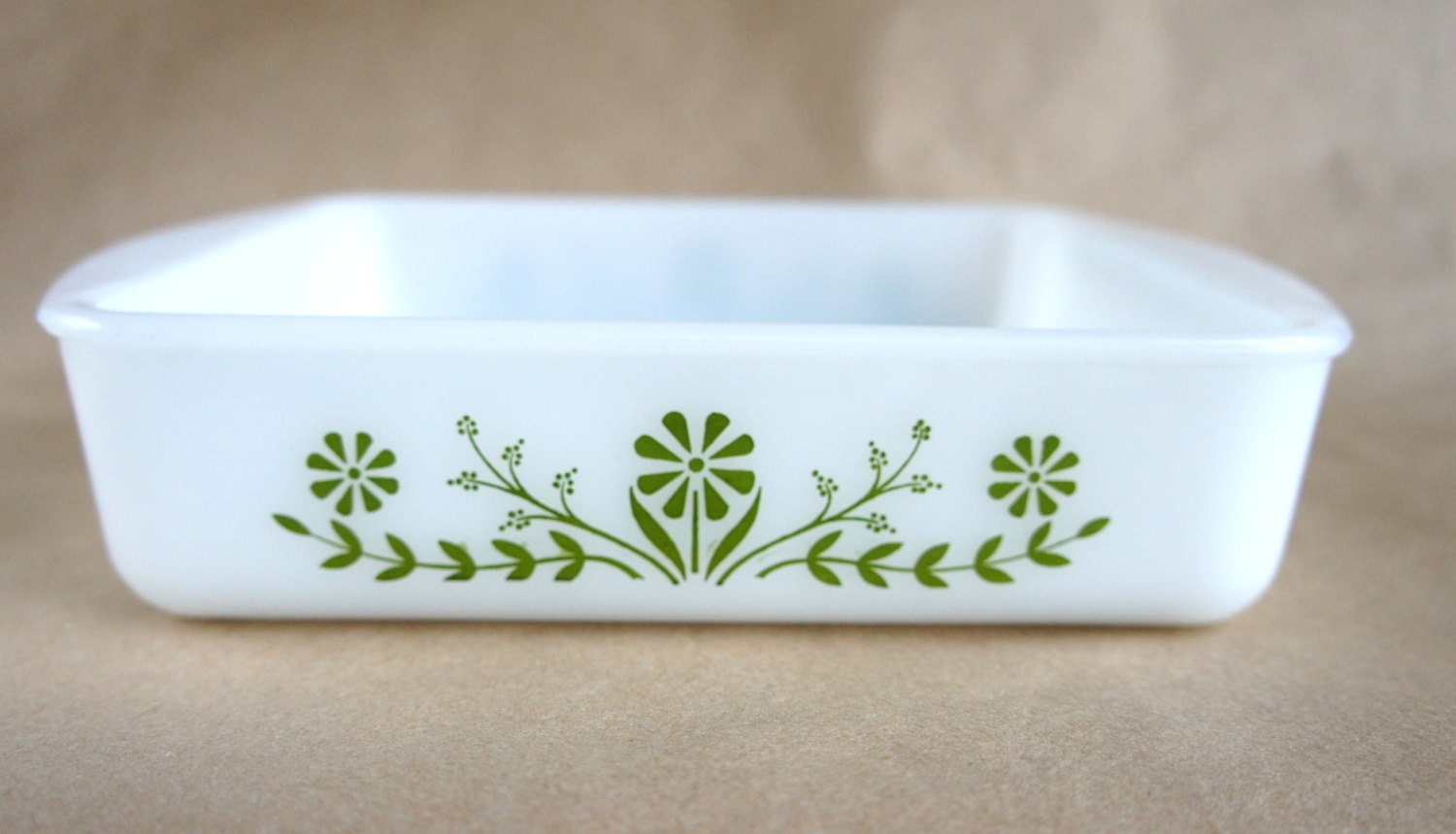 Vintage Jeannette Glass Glasbake Square Baking Dish / Green Flower ...