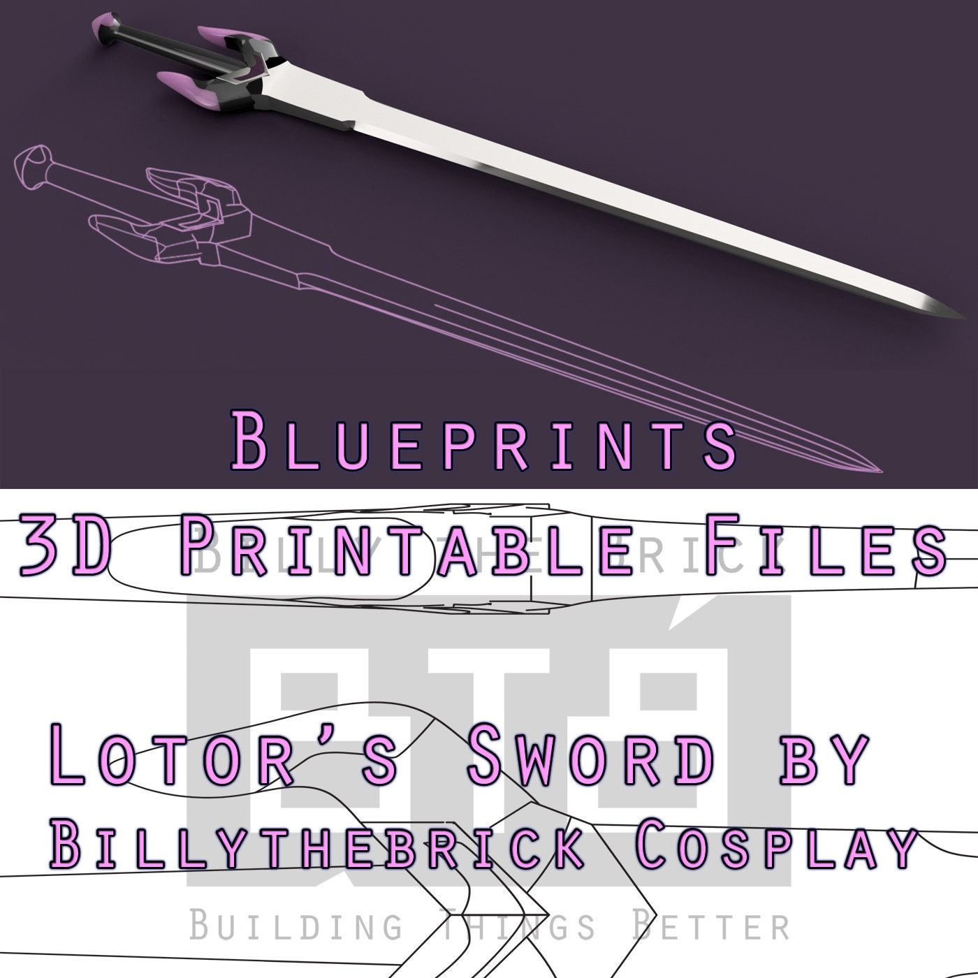 Voltron Inspired Prop Lotor Sword For Cosplay Stl Files Etsy Origami Diagrams This Is The We Make In