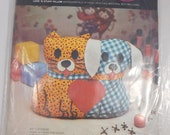 Love N stuff Pillow Kit, Avon Creative Needlecraft, 9 inches High, Cat and Dog Pillow, Pillow Making