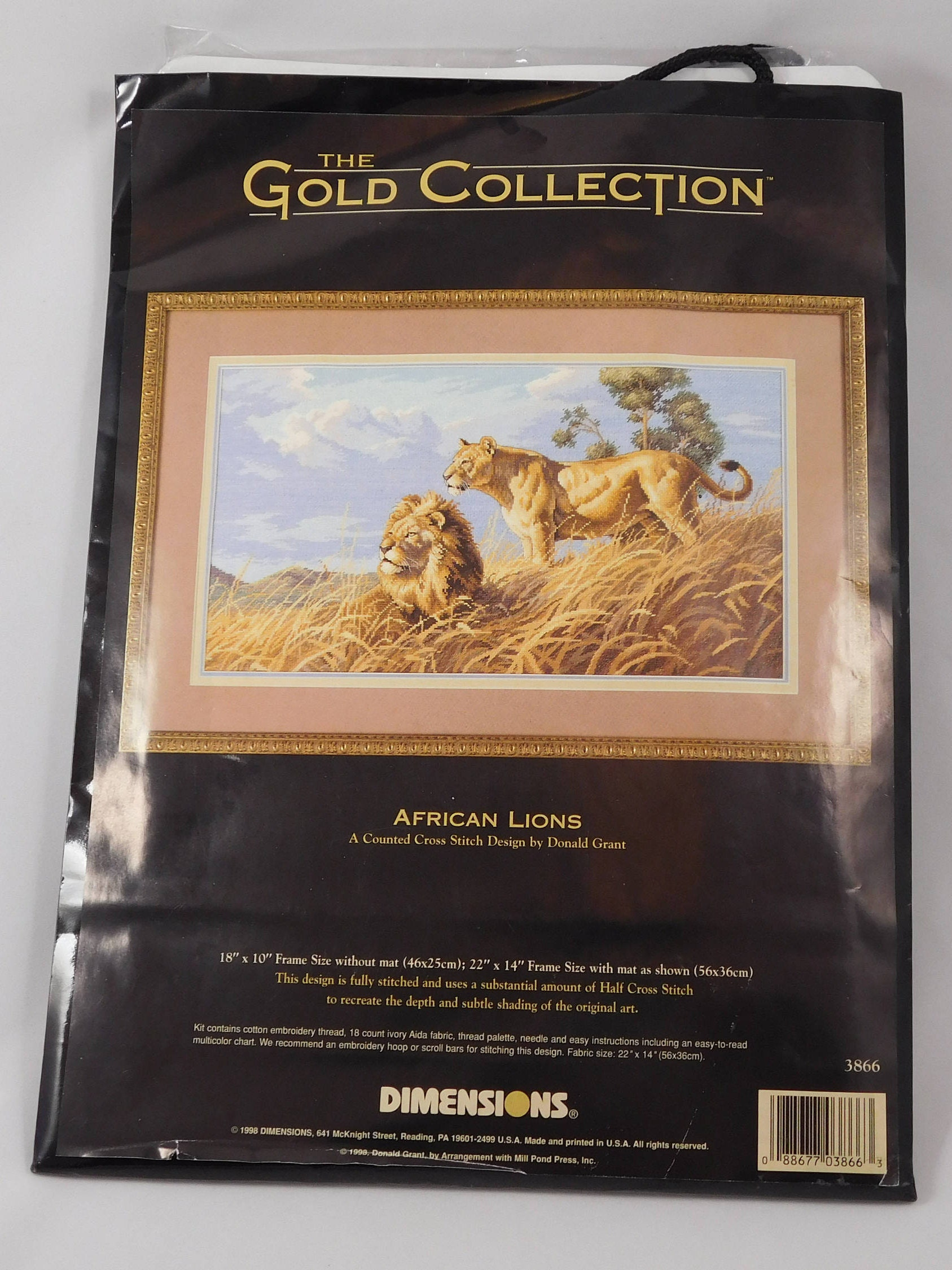 African Lions Cross Stitch Kit, The Gold Collection, Dimensions ...