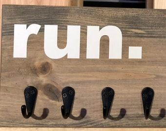 Runner medal holder, aged gray stain, black hooks,  marathon medal display, rustic wall hanging, 5k, 10k, half marathon, race medal diplay