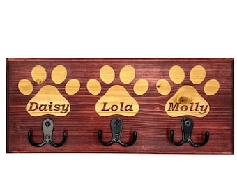Dog Leash Holder (3 Paw Custom Laser Engraved Pet Leash Holder with 3 Hooks and paws in Pine (available in 4 colors)
