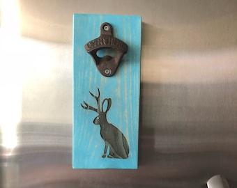 Jackalope Magnetic Cast Iron Bottle Opener in vintage aqua. Novelty mythical creature. Pop tops. Catch caps  Nice addition to fridge!