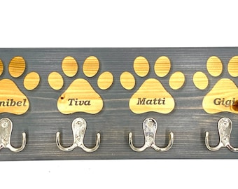 Dog Leash Holder (4 Paw Custom Laser Engraved Pet Leash Holder with 4 Hooks and paws in Pine (available in 4 colors)
