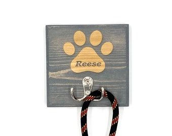 Dog Leash Holder (1 Paw Custom Laser Engraved Pet Leash Holder with Hook in Pine (available in 4 stain colors with option of hook color)