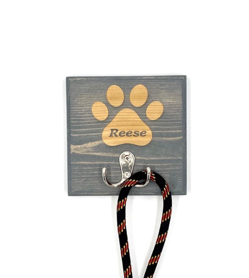 Dog Leash Holder 1 Paw Custom Laser Engraved Pet Leash Holder image 0