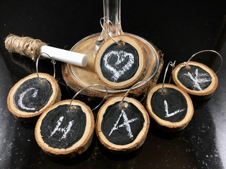 Chalkboard wood slice wine charms write on/wipe off Set of 6 image 0