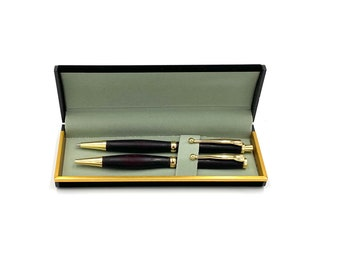 Purpleheart (wood) Pen and Pencil Set in Gold with Gift Box